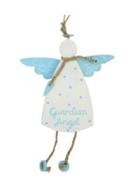 Gisela Graham - Blue/White Wood Guardian Angel