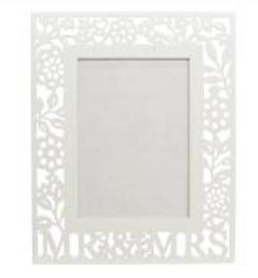 Gisela Graham -  White Wood Fretwork Mr & Mrs Picture