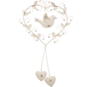 Sass & Belle - Vintage Hanging Heart with Bird and Leaves